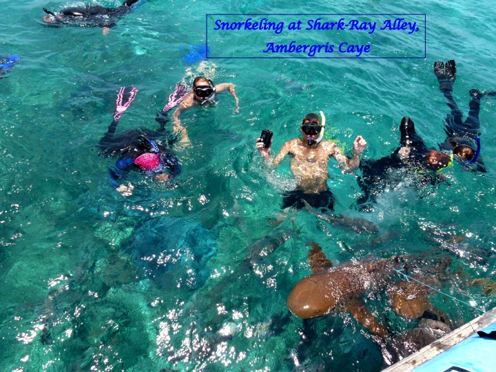 Photo of sudents snorkeling at Shark-Ray Alley, Ambergis Cave in Belize